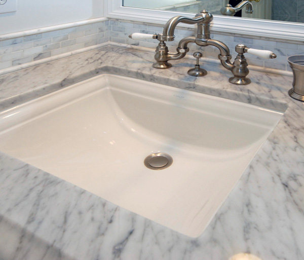 White Marble Bianco Carrara Square Sink Cutout Vantiytop