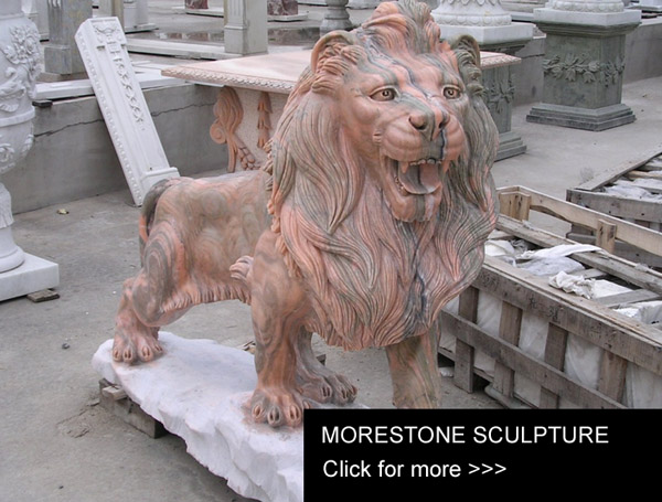 Pink Mable Lion Sculpture