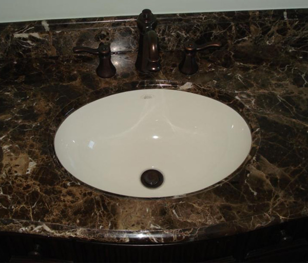 Dark Emperador Bathroom Marble Countertops