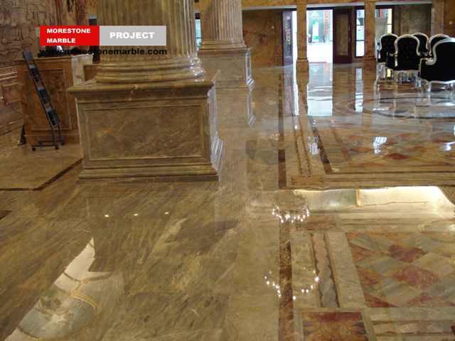 Karen Gold Marble Flooring and Column in Hotel Lobby